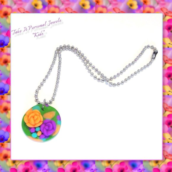 Girl's Spring Flower Pendant Necklace